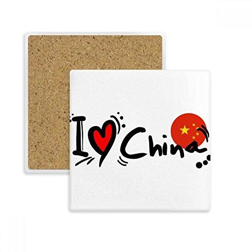 DIYthinker Ich Liebe China Word-Flag-Liebes-Herz-Illustration Platz Coaster-Schalen-Becher-Halter Absorbent Stein für Getränke 2ST Geschenk Mehrfarbig