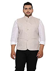 John Pride Men Beige Coloured Nehru Jacket (Sizes: 2XL- 5XL)