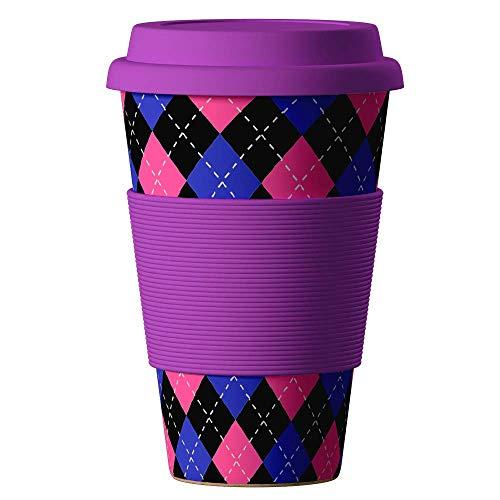 Bambus Becher wiederverwendbare Kaffeetasse mit dichtem Deckel, Trinkloch und Silikonhülle - Bamboo Eco ECoffee Cup - lebensmittelecht und spülmaschinenfest 400 ml karo rot