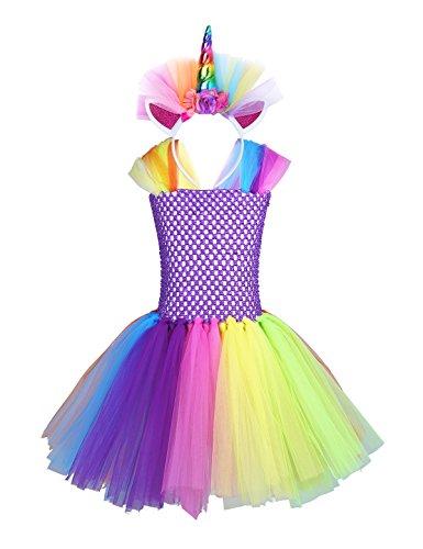 Iefiel unicorno vestito da bambina principessa ragazza per bimba con costume lungo carnevale abito halloween cosplay festa battesimo cerimonia compleanno farfalla arcobaleno colore 8-10 anni