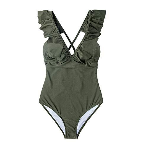 SHENGYUNPIO Olive Grün Gekräuselte Einteiliges Badeanzug Frauen Solide Mädchen Strand Badeanzüge