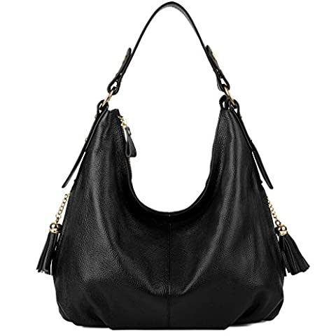 Yaluxe Women's Elegant Tassel Side Pocket Soft Leather Large Hobo Crossbody Shoulder Bags (Black)