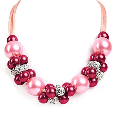 ALMBOCK Trachtenkette Damen pink | Perlen Dirndlkette Schmuck rosa | Trachtenkette Damen Perlen für Oktoberfest