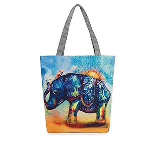 Sacchetto di spalla stampato elefante del sacchetto della tela di canapa 5