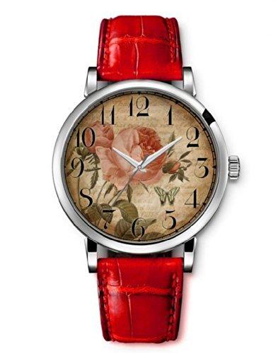 Damenuhr Vintage Blume Damenuhren Analog Armbanduhr iCreat Rot echte Leather Schnalle Schönes Zifferblatt mit Vintage Retro Blumen