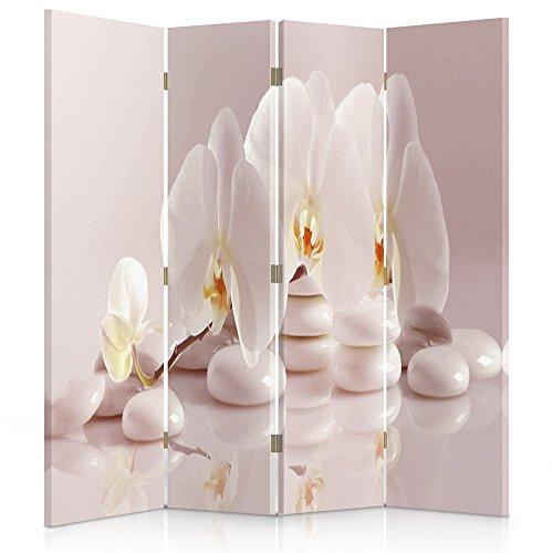 Feeby Frames Il paravento Stampato su Telo,Il divisorio Decorativo per Locali, bilaterale, a 4 Parti (145x150 cm), Fiori, Orchidee, Natura, Pietre, Zen