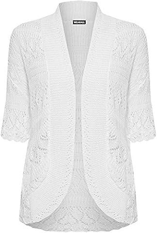 WEARALL Femmes Grande Taille Tricoté Crochet Court Manche Haut Haussement D'Épaules Dames Ouvert Cardigan - Blanc -
