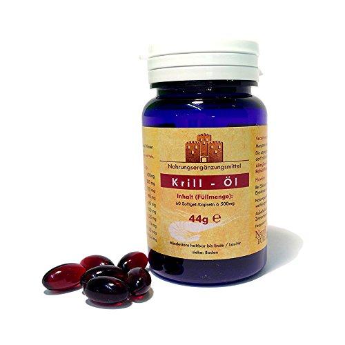 Krillöl 60 Kapseln hochdosiert 500 mg Antarktis - Omega 3 Fettsäuren EPA, DHA und Astaxanthin Nahrungsergänzungsmittel