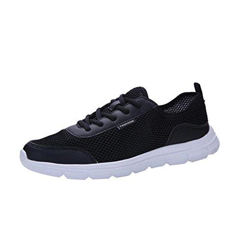 FNKDOR Laufschuhe Sneaker Atmungsaktive Schuhe Unisex Herren Damen Mesh Turnschuhe (38.5, Schwarz)