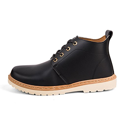 SOMESUN Mens Spring High-top Shoes Martin Boots, Primavera Casual-Scarpe Alti Uomo Vintage Lace-Up Outdoor Martin Boots Black