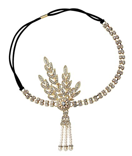 Girl Golf Kostüm - CHUNJIANGSHUI Große Gatsby Stirnband Flapper Girl Fancy Party Kostüm Haarschmuck Stein Perle Braut Kopfschmuck (Color : Gold Tassel)