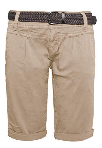 Stretch-wolle T-shirt (Fresh Made Sommer-Hose Bermuda-Shorts für Frauen | Kurze Chino-Hose mit Flecht-Gürtel | Basic Shorts aus Baum-Wolle Light-Brown XL)
