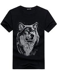 Cayuan 3D Lobo Gráficos Camisetas Hombres Cuello Redondo T-Shirt Verano Suelto Fresco Manga Corta