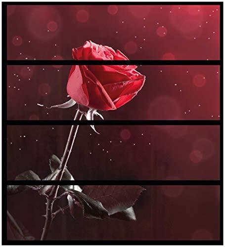Wallario Möbelfolie/Aufkleber, geeignet für IKEA Malm Kommode - Rote Rose Single mit 4 Schubfächern (Single Rose Rote)