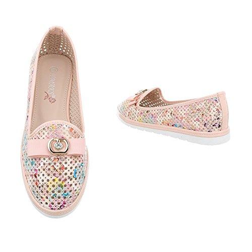 Ital-Design Chaussures Femme Mocassins Plat Slippers beige Rose J385D