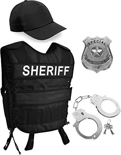 normani Sheriff Kostüm bestehend aus taktischer Weste mit Patch, Police Abzeichen, Handschellen und Cap - Unisex [XS - 6XL] Größe (Übergröße Officer Kostüm)