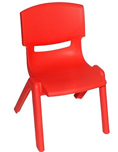 Kinderstuhl - ROT - bis 100 kg belastbar / stapelbar / kippsicher - für INNEN & AUßEN - Plastik / Kunststoff - Kindermöbel für Mädchen & Jungen - Stuhl Stühle / Kinderzimmer / Plastikstuhl - Kinder - Gartenmöbel - Tischgruppe