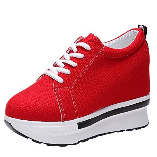 NANIH Home Frau Sport Turnschuhe, Damen Casual Canvas Dicke Plattform Wedges Stiefel Schnürung Arbeitsschuhe Höhe Zunehmende Loafer Einzelne Schuhe (Color : Red, Size : 5 UK)