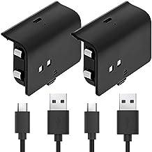 Fosmon Baterías del Controlador Xbox One (2), Baterías Recargables de 1000mAh para Xbox One / One S / One X / One Elite - Cable Micro USB, Carga para Cargadores Del Controlador Xbox One – Negro