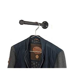 Kleiderstange 30cm, Metall schwarz Pulverbeschichtet, für Kleiderbügel, sehr stabil, Industrial Design, Garderobe