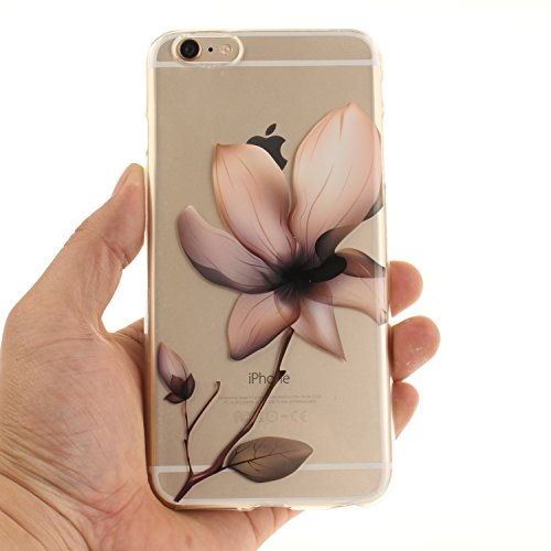 "Apple iPhone 6 Plus 5.5"" hülle,MCHSHOP Ultra Slim Skin Gel TPU hülle weiche Silicone Silikon Schutzhülle Case für Apple iPhone 6 Plus 5.5"" - 1 Kostenlose Stylus (Halbe schwarze Blumen) Magnolie"