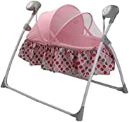 LuvLap Royal Cradle for Babies - New Born Baby Swing Cradle with Auto Swing and Mosquito Net – Pink