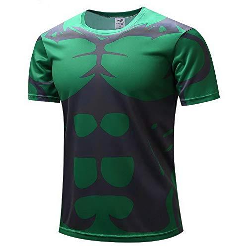 reen Männer Kurzarm Kompression Herren T-Shirt Fitness Sport Gym Compression Avengers Short Shirt Herren Gym Beim Training T-Shirt ()