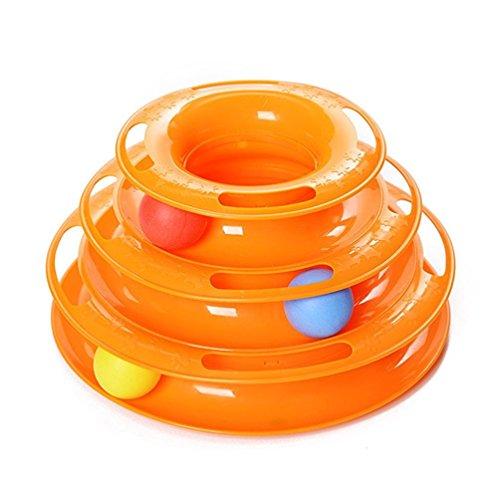 YOMMY® Juguete Mascotas para Gatos Juguetes Interactivo Juguete de Atracciones Plate Trilaminar Bola Torre de pistas YM-1366(Naranja)