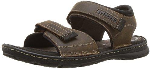 Rockport Men's Darwyn Quarter Strap Platform Slide Sandal, Brown Ii Leather, 10.5 W US