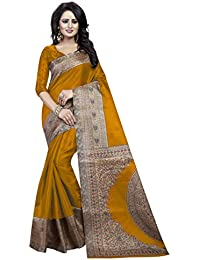 Sky World Women's Kalamkari Printed Art Silk Saree (SW_2101)