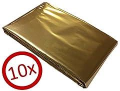 10 Rettungsdecken, Goldfolie 160 x