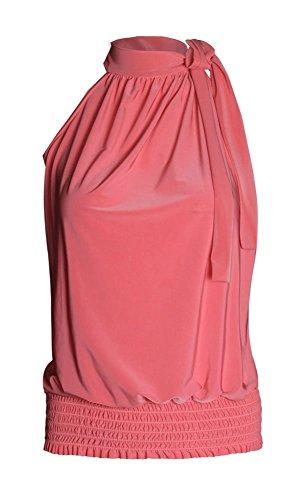 Fast Fashion – Tonte Haut Plus La Taille Licol Plaine Sans Manche Extensible - Femmes Corail