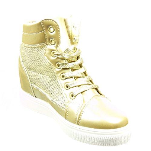 Angkorly Scarpe Moda Sneaker Zeppa Donna Strass Verniciato Lucide Tacco Zeppa 6.5 cm Oro