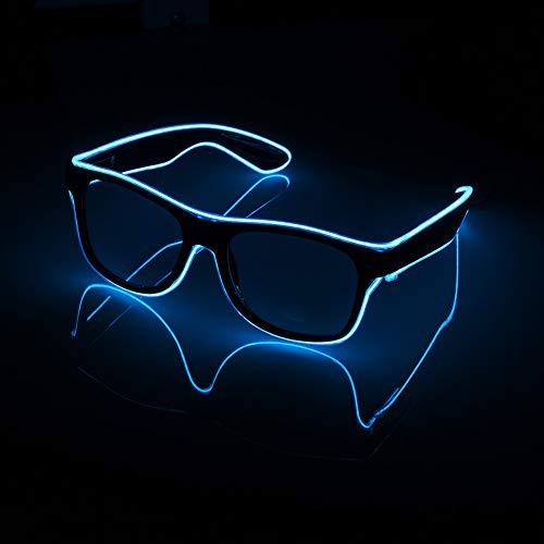 XIAOXIE Beleuchtete Linie Neon-Brille, Blinkender Nachtclub DJ-Geburtstagsfeier des 3-Funktionsmodus-Neujahrsfestes,Blue
