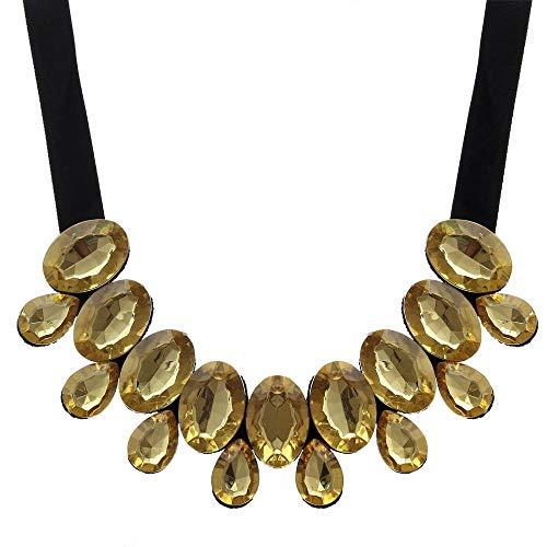 Fgtyj catena di corda nera goccia di cristallo colorato perline maxi collare con collane girocollo pergioielli dadonna