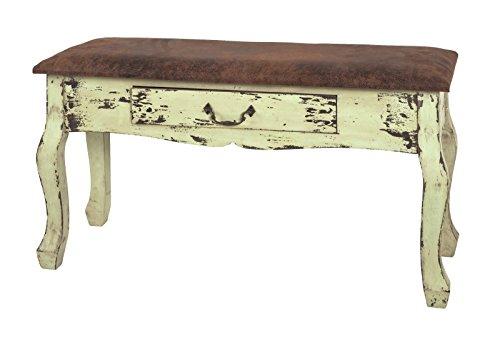 Bank mit Schublade in Vitangeoptik mit Kunstleder bezogen; Maße (B/T/H) in cm: 80 x 30 x 37