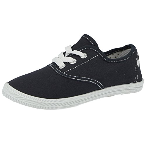 Ladies Girls Boys Kids Canvas Low Top Lace Up Flat Plimsoll Pumps Trainers Size 6 Infant-UK 9