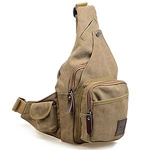 Lienzo Mensajero Sling Body Bag Mochila Deporte D¨ªa Senderismo bolsa caqui