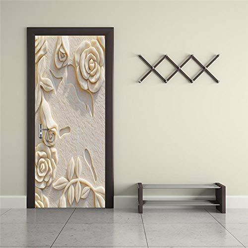 er geprägte Rose selbstklebende Tür Tapete Wohnzimmer Schlafzimmer wasserdicht dekorative Kontakt Papier er 77x200cm ()