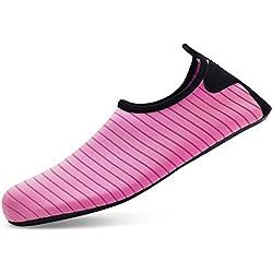 Bridawn Escarpines de Hombre Mujer Zapatos de Agua Playa Descalzos Chanclas Antideslizante Surf Piscina Natación Auqa Deportes Acuáticos Secado Rápido Respirable para Adultos Unisex (Medium, Rosa)