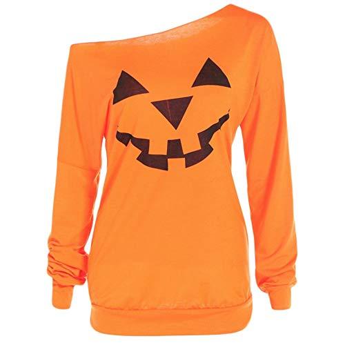 Fanxing Damen Plus Size Long Sleeve Halloween Verärgerter Kürbis Skew Neck T-Bluse Tops (Orange, L)