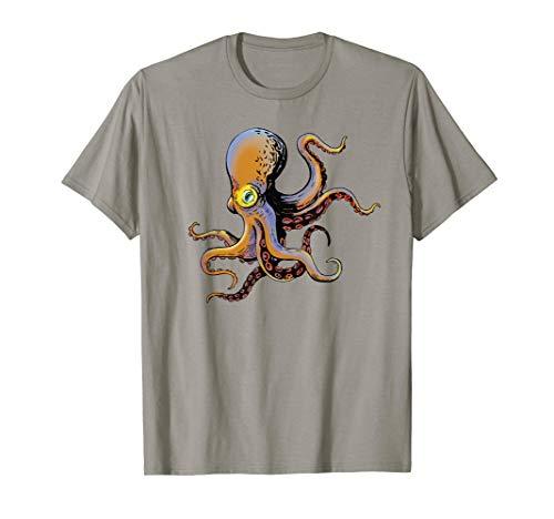 Tiefsee-grafik (Buntes Tintenfisch Kraken Tierdruck Ozean Liebhaber T-Shirt)