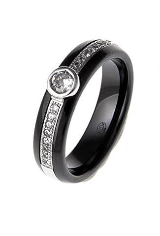 Fant'zi - Bague céramique noire et argent rhodié zircons - 58