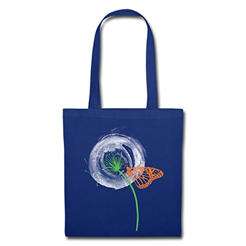 Spreadshirt Animal Planet Dandelion With Butterfly Fabric Bag Blu Royal