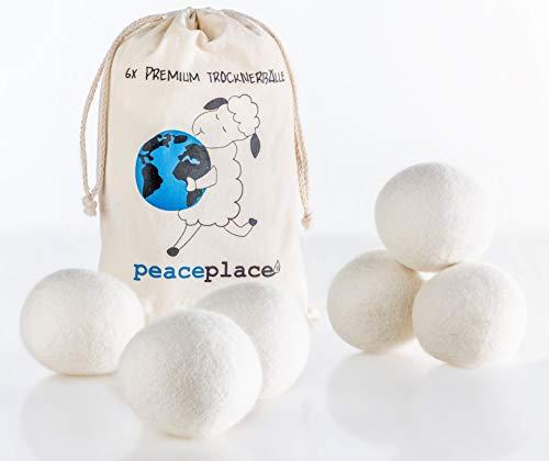 peaceplace Trocknerbälle 6x   Trocknerkugeln aus Schafswolle   Der natürliche Weichspüler für Daunen Jacken und Kissen für Wäschetrockner   XXL Filzbälle Wollebälle   Die umweltschonende Alternative