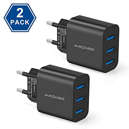 Amoner USB Ladegerät Stecker Ladestation Ladeadapter -2 Stücke 3 Port 15W Netzteile für iPhone, iPad,Tablette,Samsung, Galaxy, Huawei usw. (Schwarz)