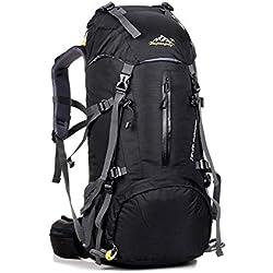 Sumeber Sac à dos de randonnée 50 l pour homme et femme 45 l + 5 l Étanche Sac à dos de trekking R, Noir