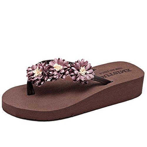 Eagsouni® Senhoras Verão Böhmen Daisy Plateausandalen Mulas Flip Flops Flip Flops Plana Café Sapatos De Praia