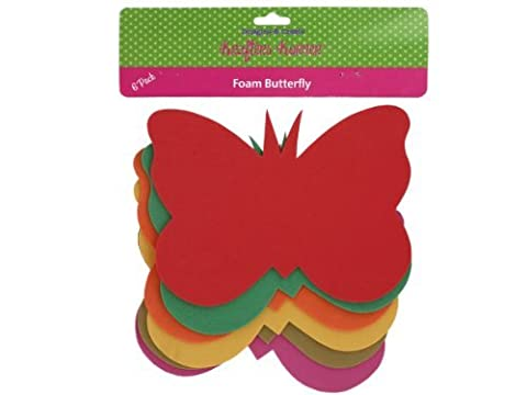 6 Pack foam butterfly craft shapes - Case of 12 by krafters korner