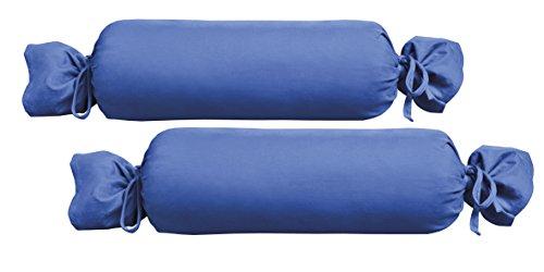 Biberna 0077144 Jersey-Kissenhülle für Nackenrolle aus 100 % Baumwolle, 2er-Pack, 15 x 40 cm Sapphire, 27 x 18 x 2 cm -